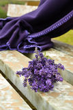 Lavander bouquet. Is lying on the hay Royalty Free Stock Photo