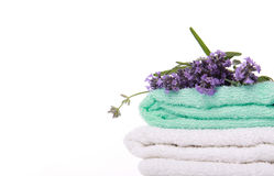 Lavander branch on the towel Royalty Free Stock Photos