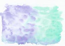 Lavander do índigo e fundo horizontal do inclinação da aquarela misturada verde persa da cerceta Fotografia de Stock Royalty Free