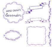 Lavander frame hand drawn set Royalty Free Stock Photos