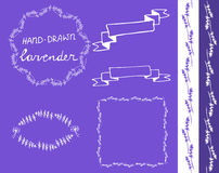 Lavander frame hand drawn set Royalty Free Stock Photography