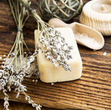 Lavander Soap.Wooden Spa Setting Royalty Free Stock Images