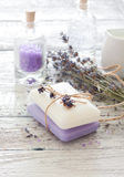 Lavander spa set stock photography