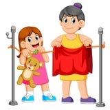 Lavanderia d'aiuto di caduta della bambina sua madre illustrazione di stock