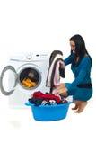 Lavanderia da lavagem da dona de casa Fotos de Stock