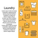 Lavanderia delle icone Insegna o manifesto con le icone e una stanza di lavanderia per testo Modello per il vostro testo con la l Fotografia Stock