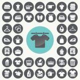 Lavanderia e ícones de lavagem ajustados fotos de stock