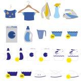 Lavanderia e ilustração de lavagem do vetor dos ícones Ajuste a lavanderia e etiquetas de lavagem Imagens de Stock Royalty Free