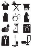 Lavanderia ed insieme dell'icona di servizio di pulizia Fotografia Stock Libera da Diritti