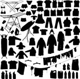 A lavanderia objeta silhuetas preto e branco Fotos de Stock Royalty Free