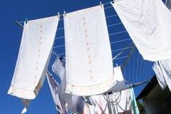 Lavanderia su un essiccatore di vestiti rotativo Fotografia Stock Libera da Diritti