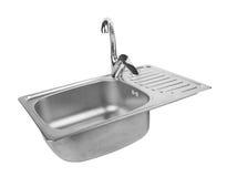 Lavandino di cucina con il rubinetto Immagini Stock Libere da Diritti