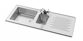 Lavandino di cucina dell'acciaio inossidabile e rubinetto di acqua isolato su fondo bianco, vista da sopra Fotografie Stock Libere da Diritti
