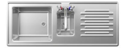 Lavandino di cucina dell'acciaio inossidabile e rubinetto di acqua isolato su fondo bianco, vista superiore Fotografia Stock Libera da Diritti