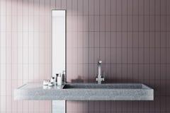 Lavandino in un interno beige del bagno Fotografia Stock