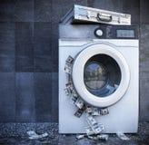 Lavando e del primo piano di concetto del fondo di affari di soldi Fotografie Stock