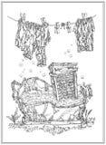 Lavando, material velho ilustração do vetor