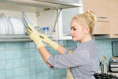 Lavando os pratos Imagens de Stock