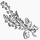 Lavandula angustifolia aka common lavender sketch on gray background. Aromatherapy series. Hand drawn vector illustration. Doodle. Line art stock illustration