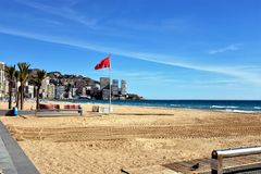 Lavante strand, Benidorm, Spanien arkivbild