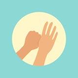 Lavar entrega o foco na ilustração redonda do vetor do dedo dos polegares ilustração stock