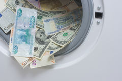 Lavare e di soldi. Concetto di pulizia dei soldi fotografia stock