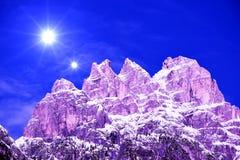 Lavaredo三个峰顶,风景, Dolomiti山,意大利 库存图片
