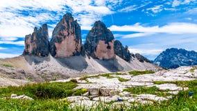 Lavaredo Tre Cime di Lavaredo三峰顶在Itali的 免版税库存照片