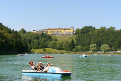 Lavarone Lake in Chiesa, Trentino Alto Adige, Italy. Chiesa, Italy - August 20, 2011: Lavarone Lake is located at Chiesa a locality of the small town of Lavarone stock images