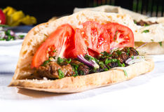 Lavash with grilled meat Royalty Free Stock Photo