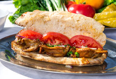 Lavash with grilled meat Royalty Free Stock Photography