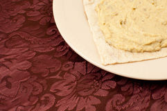 Lavash with Hummus Royalty Free Stock Photography