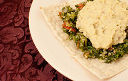 Lavash with Hummus and Tabbouleh Royalty Free Stock Photos