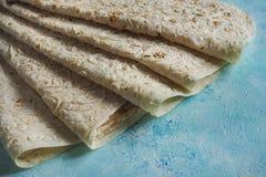 Lavash plano armenio del pan Pan tradicional del trigo imagen de archivo