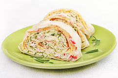 Lavash rolls with crab meat, cheese, eggs and herbs Royalty Free Stock Image