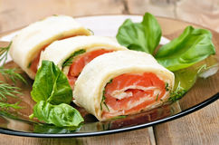 Lavash rolls with salmon and cheese Stock Photography