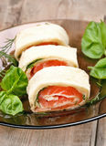 Lavash rolls with salmon and cheese Royalty Free Stock Photo