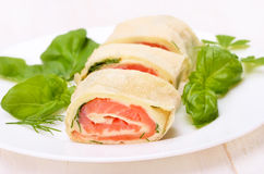 Lavash rolls with salmon, cheese and herbs Stock Photos