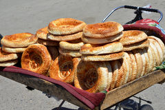 Lavash sale. There are many  lavashes on the trolley. The bread is held for sale Stock Photo