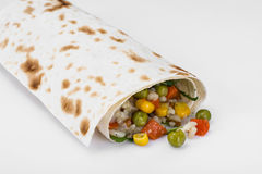 Lavash with vegetarian stuffing-vegetables and rice Royalty Free Stock Image