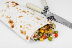 Lavash with vegetarian stuffing-vegetables and rice Royalty Free Stock Photo