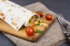 Lavash with vegetarian stuffing-vegetables and rice Stock Photography