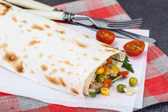Lavash with vegetarian stuffing-vegetables and rice Royalty Free Stock Photos