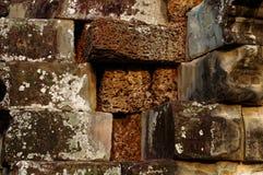Lavasteine umgeben durch Sandsteine in Angkor-Tempel Stockbilder