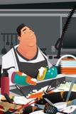 Lavastoviglie Working in un'illustrazione commerciale della cucina Fotografia Stock Libera da Diritti