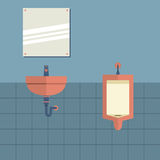 Lavatory With Mirror Beside Urinal. Vector Illustration Stock Photos