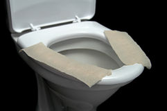 Lavatory pan with toilet paper Stock Image