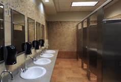 Lavatory sinks. In a public restroom Royalty Free Stock Photography