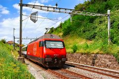 Lavaux, Switzerland - August 30, 2016: Running train at Lavaux Vineyard Terraces hiking trail, Lavaux-Oron district of Switzerland. Lavaux, Switzerland - August stock images