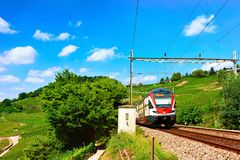 Lavaux, Switzerland - August 30, 2016: Running train in Lavaux Vineyard Terraces hiking trail, Lavaux-Oron district in Switzerland. Lavaux, Switzerland - August royalty free stock image